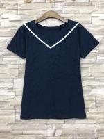 ส่ง:งานจีนเสื้อยืดคอตตอนเนื้อดีแต่งผ้าถักแนววีคอเสื้อ/อก34