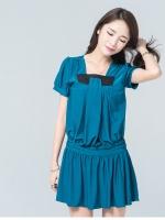 มินิเดรสผ้ายืดไซส์ใหญ่สไตล์เกาหลี สีน้ำเงิน (XL,2XL,3XL,4XL)