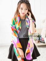 ผ้าพันคอลายสามเหลี่ยม Triangle โทนสีส้ม - ผ้า Cotton Twil - size 130 x 130 cm