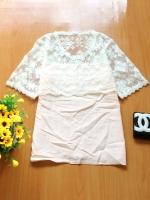 ขายส่ง:เสื้อแบบหวานน่ารักแต่งต่อผ้าลูกไม้ช่วงบน/อก34