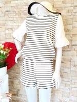 ขายส่ง:พร้อมส่งชุด2ชิ้นน่ารักลายเส้นริ้ว/เสื้อ+กางเกง/อก35/ขาว