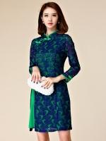 ชุดกี่เพ้าสีเขียวสั้นไซส์ใหญ่ ผ้าลูกไม้ซ้อนสวยเหมือนใส่สองตัว แขนยาว (XL,2XL,3XL)