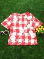 ขายส่ง:งานจีนเสื้อลายตารางเหลี่ยมเก๋ๆแต่งปักดอกไม้/อก38