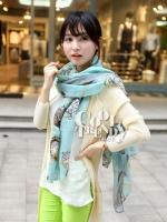 ผ้าพันคอลายนาฬิกา Clock pattern scarf : สีฟ้า : ผ้าพันคอ Cotton - size 170x80 cm