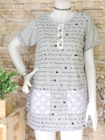 ขายส่ง:เสื้อยาวพิมพ์ลายมิกกี้แบบน่ารักแต่งเป๋าจกล้วงได้/อก37