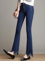 กางเกงยีนส์ยืดขายาวทรงStovepipe ปลายขาแต่งแหลมๆหยักๆ สีน้ำเงิน (XL,2XL,3XL,4XL,5XL)