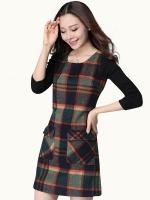 เดรสลายสก๊อตทำจากผ้าขนสัตว์ สีเขียวเข้ม (XL,2XL,3XL,4XL)