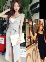 (ฟรีไซส์) [พร้อมส่งสีดำ] ATA329 ใหม่! Sexiest Dress เดรส/แซคผ้ายืดผ่าหน้าตัวยาว ใส่แบบเซ็กซี่ หรือใส่แบบเฉี่ยวเปรี้ยวเก๋ๆ สวยสุดๆ #420