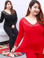 ชุดลองจอนไซส์ใหญ่ สีแดง/สีดำ ผ้ากำมะหยี่กันหนาว (XL,2XL,3XL)