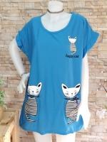 ขายส่ง:เสื้อยาวแต่งสกีนแมวน่ารักทรงปล่อยสาวอวบใส่สบาย/อก46