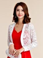 เสื้อคลุมไหล่ผ้าลูกไม้สไตล์หวาน แขนยาว สีขาว/สีดำ/สีชมพู (XL,2XL,3XL,4XL)