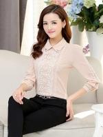 เสื้อทำงานผู้หญิงแขนยาวสีชมพูอ่อน ประดับลูกไม้แฟชั่นสวยหรู