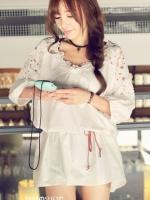 พร้อมส่งแฟชั่นเกาหลี:เสื้อยาว/เดรสได้น่ารักแต่งลูกไม้ถัก+สายเปียผูกเอว