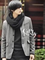 ผ้าพันคอผู้ชาย ผ้าพันคอไหมพรม Loop Loop สี Black men scarf