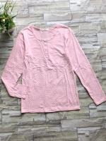 ส่ง:งานจีนเสื้อยืดแขนยาวลายจุดแบบน่ารักชมพูหวานๆ/อก32-34