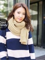 ผ้าพันคอไหมพรมถัก Knit Scarf - size 160x30 cm - สี Cream