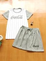 ขายส่ง:พร้อมส่งเช็ท2ชิ้นน่ารักแต่งสกีนโคคาโคล่า/เสื้อ+กางเกง/เทา