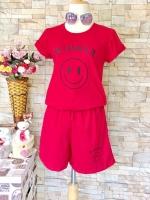 ขายส่ง:พร้อมส่งชุด2ชิ้นน่ารักแต่งสกรีน/เสื้อ+กางเกง/อก34-35/แดง