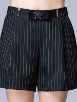 ++พร้อมส่ง++ กางเกงขาสั้นสีดำ แต่งหัวเข็มขัด ขากว้าง ทรงหลวม (5XL)