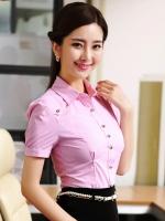 เสื้อเชิ๊ตทำงานแขนสั้นผ้าลายสีชมพู