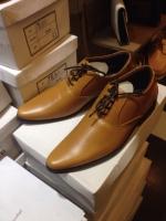 รองเท้าผู้ชาย | รองเท้าแฟชั่นชาย Tan Cut Shoes หนังวัวแท้ ขัดเงา