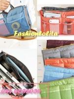 [มีหลายสี พร้อมส่ง] BAG100 ใหม่! Dual Bag in Bag กระเป๋าจัดระเบียบ สองซิป มีช่องแยกหลายช่อง ช่องซิปใส่ Tablet มือถือได้ มีหูหิ้ว