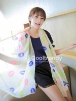 ผ้าพันคอลาย Kiss me : สี Neon white : ผ้า Chiffon 160 x 60 cm