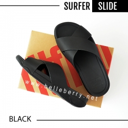 * NEW 2018 * FitFlop : Surfer Leather Slide : Black : Size US 10 / EU 43