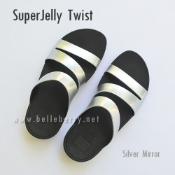 รองเท้า FitFlop SUPERJELLY TWIST : Silver Mirror : Size US 5 / EU 36