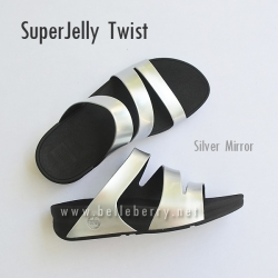 รองเท้า FitFlop SUPERJELLY TWIST : Silver Mirror : Size US 8 / EU 39