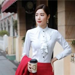 เสื้อทำงานผู้หญิงแขนยาวแฟชั่นระบายหน้าเรียบหรู สีขาว