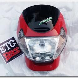 หน้ากากพร้อมไฟหน้า STINGER สีแดง แท้