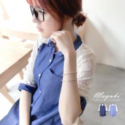 ♡♡pre-order♡♡ เสื้อเชิ๊ตแขนสามส่วนสียีนส์ แต่งผ้าลูกไม้ซีทรูตรงแขนเสื้อ สวยเก๋น่ารักๆ
