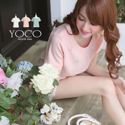 ♡♡Pre Order♡♡ เสื้อแฟชั่น คอกลมเนื้อผ้าชีฟองเนื้อดี แขนสั้น มีซิบด้านหลังช่วงคอ สวมใส่สบาย ด้านหน้าติดมุกเป็นรูปดอกไม้สวยๆ ทั่วตัว