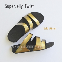 FitFlop SUPERJELLY TWIST : Gold Mirror : Size US 9 / EU 41