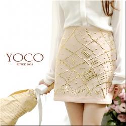 ♡♡Pre Order♡♡ กระโปรงสั้นเกาหลี ปักเลื่อมสีทองด้านหน้า สวยหรูหรา ไฮโซ ตัดกันกับสีน้ำตาลครีมมากๆ ผ้าเนื้อดี สวมใส่สบาย
