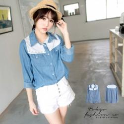 ♡♡pre-order♡♡ เสื้อยีนส์แต่งผ้าลูกไม้สีขาวน่ารักๆ แขนยาว กระดุมผ่าหน้าคอปกเชิ๊ตสวย เก๋มากๆ