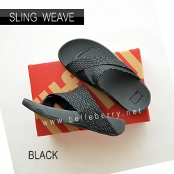 * NEW * FitFlop : SLING WEAVE : Black / Dark Shadow : Size US 9 / EU 42