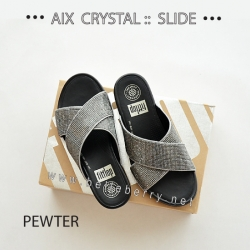 FitFlop AIX Crystal Slide : Pewter : Size US 6 / EU 37