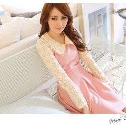 ♡♡pre-order♡♡ ชุดเดรสเจ้าหญิง สีชมพูหวานๆ สวยน่ารัก แขนยาวผ้าลูกไม้หรูหรา คอปกบัวแต่งผ้าลูกไม้สีขาว สวมใส่สบาย