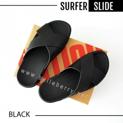 * NEW 2018 * FitFlop : Surfer Leather Slide : Black : Size US 09 / EU 42