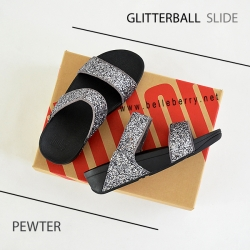 * NEW * FitFlop : GLITTERBALL Slide : Pewter : Size US 5 / EU 36
