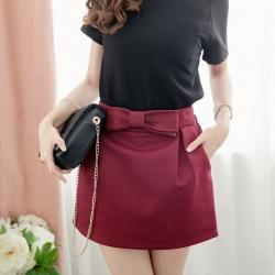 ❤❤ พร้อมส่งค่ะ ❤❤ กระโปรงกางเกงทำงาน ติดโบว์ตรงกลางสวยๆ สีแดง