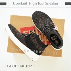 FitFlop : Uberknit High Top Sneaker : Black / Bronze : Size US 6 / EU 37