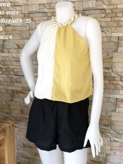 ส่ง:งานจีนเช็ท2ชิ้น/เสื้ออก40+กางเกงสม็อกหลัง24-35