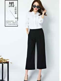 กางเกง culottes แฟชั่นเรียบๆใส่ทำงาน สีดำ