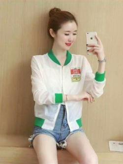 ส่ง:งานจีนเสื้อแจ็คเก็ตใส่คลุมซิปหน้าสีทองแต่งพิมพ์หน้าหลังเก๋ๆ/อก38