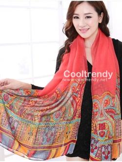 ผ้าพันคอลาย Morocco Style : สีโอโรส - ผ้า viscose 180x90 cm