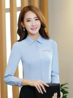 เสื้อเชิ้ตทำงานแขนยาวสีฟ้า เรียบๆ สำหรับเป็นชุดยูนิฟอร์ม ชุดพนักงาน