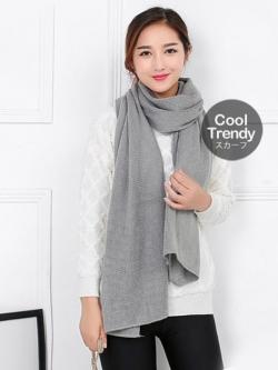 ผ้าพันคอไหมพรม ผ้า cashmere scarf 180x30 cm - สี light Grey